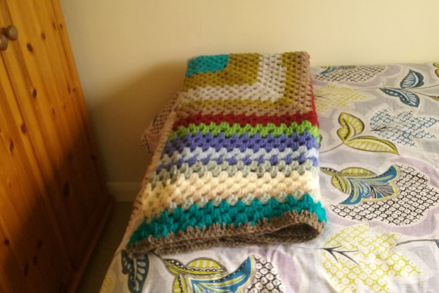 just made a homemade crochet blanket for your comfort...........