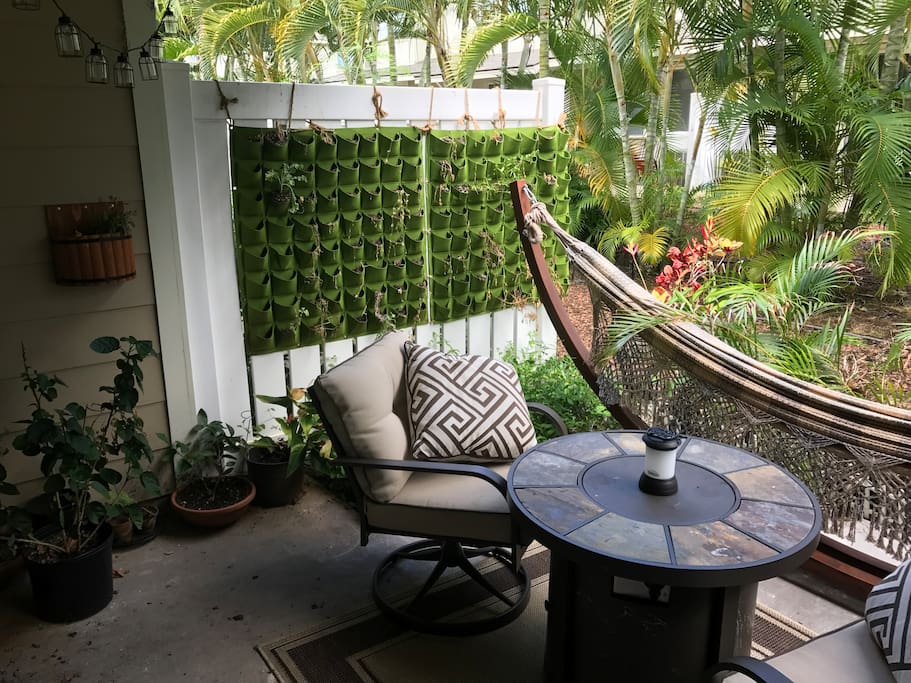 Cozy backyard - hammock and two confy chairs (have extra foldable chairs too!)