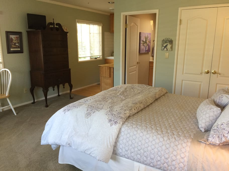Queen size bed with spacious closet. Windows over look side and back yard. We have two dogs who will be kept in the main house. You will hear them barking as you come and go. They are sweet when you know them!