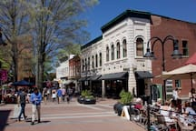 Downtown Mall in Charlottesville. about 45 Minutes from cottage.