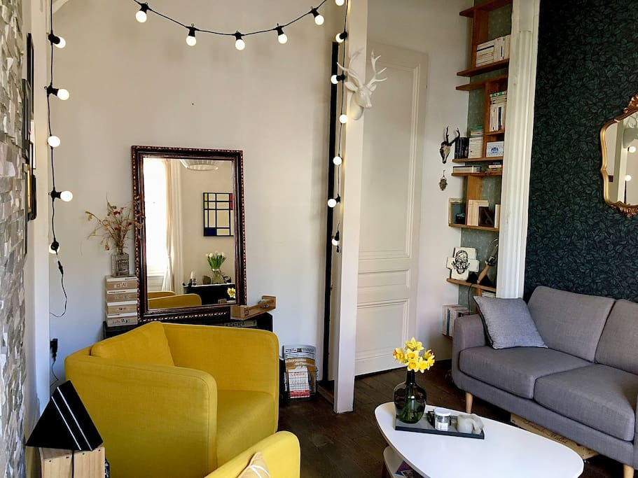 Le séjour, sans TV, mais avec de la lecture et de quoi s'installer confortablement face à Fourvière...