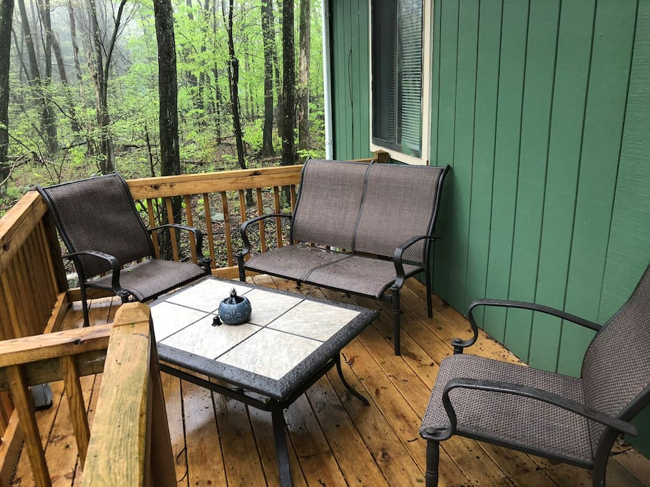 Relax with a cup of coffee out on the back deck!