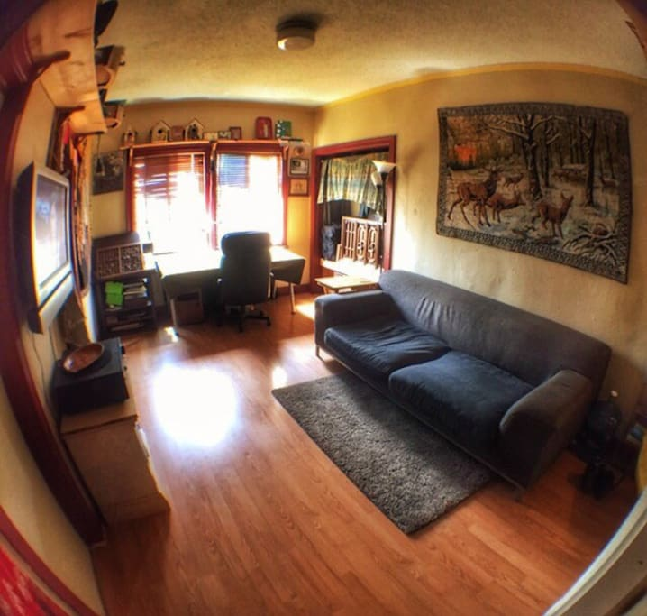 Living room with Apple TV, Internet, a comfortable couch, nice desk and a record player I built into my closet