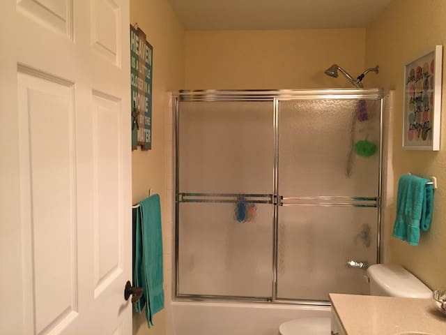 Guest bathroom with shower and tub.
