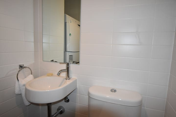 Apartment also features a separate guest bathroom with a toilet, a washing machine and a dryer