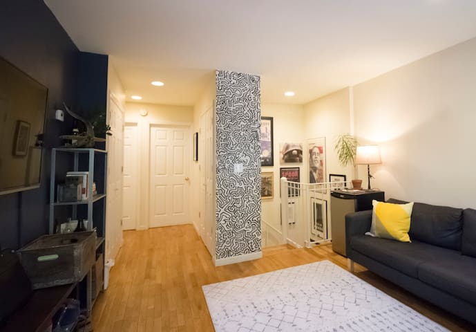 Our two guest rooms are upstairs, with convenient access to the bathroom and mini-fridge.