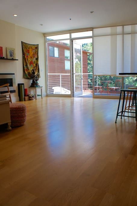 Spacious, open floor-plan is great for yoga, hosting or hanging out.