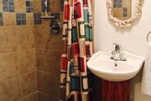 Nice bathroom with large shower!