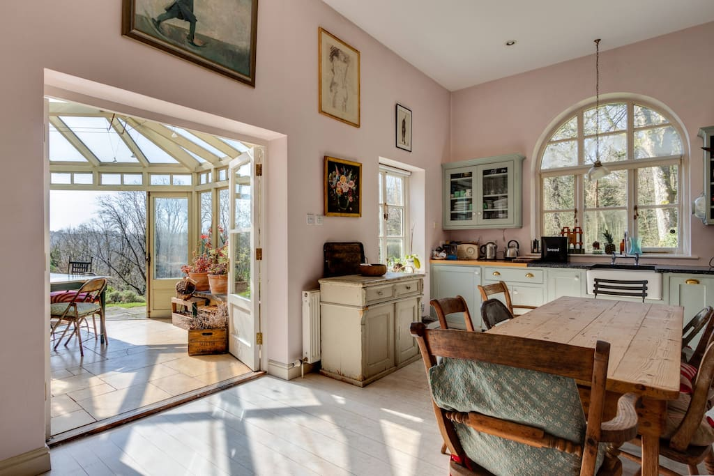 Kitchen with conservatory