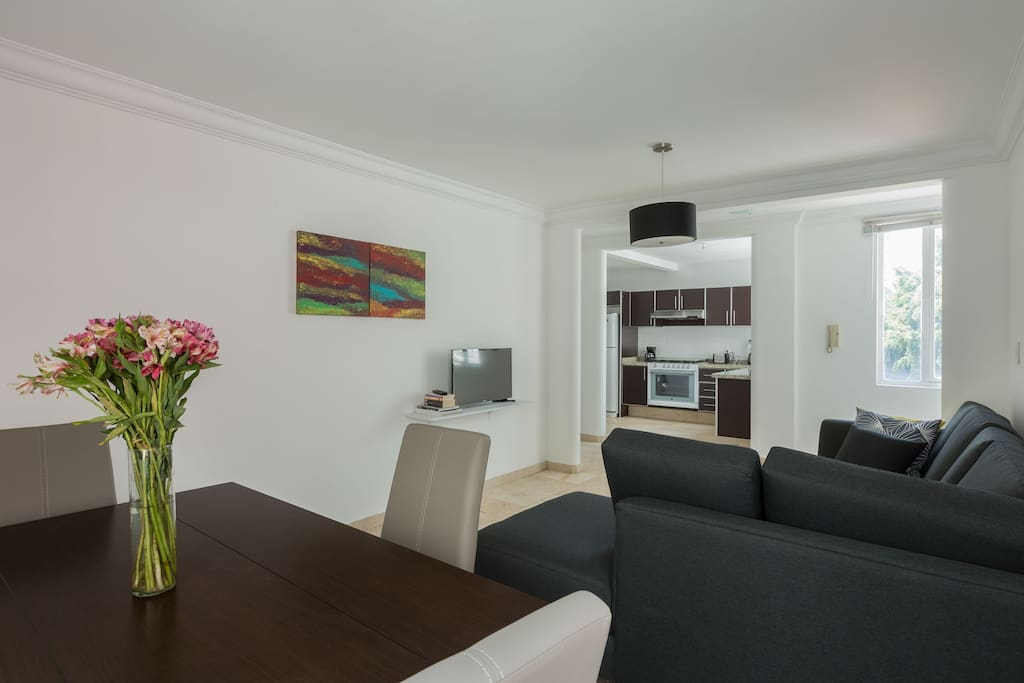 Spacious dining area, view of the beautiful living area and kitchen.