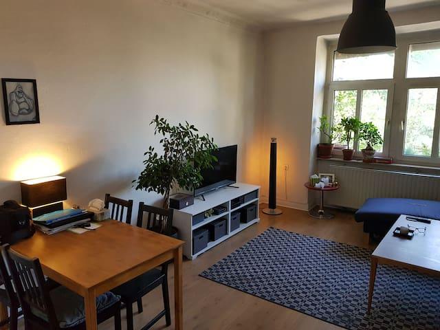 Großes Wohnzimmer mit gemütlicher Couch.