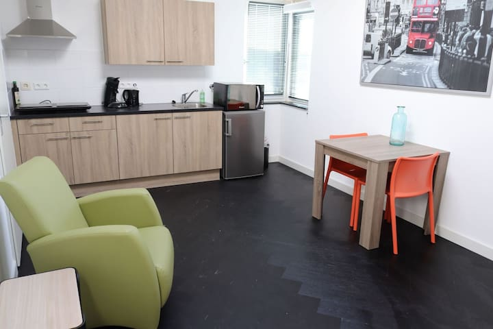Studio met keukenblok, badkamer en toilet