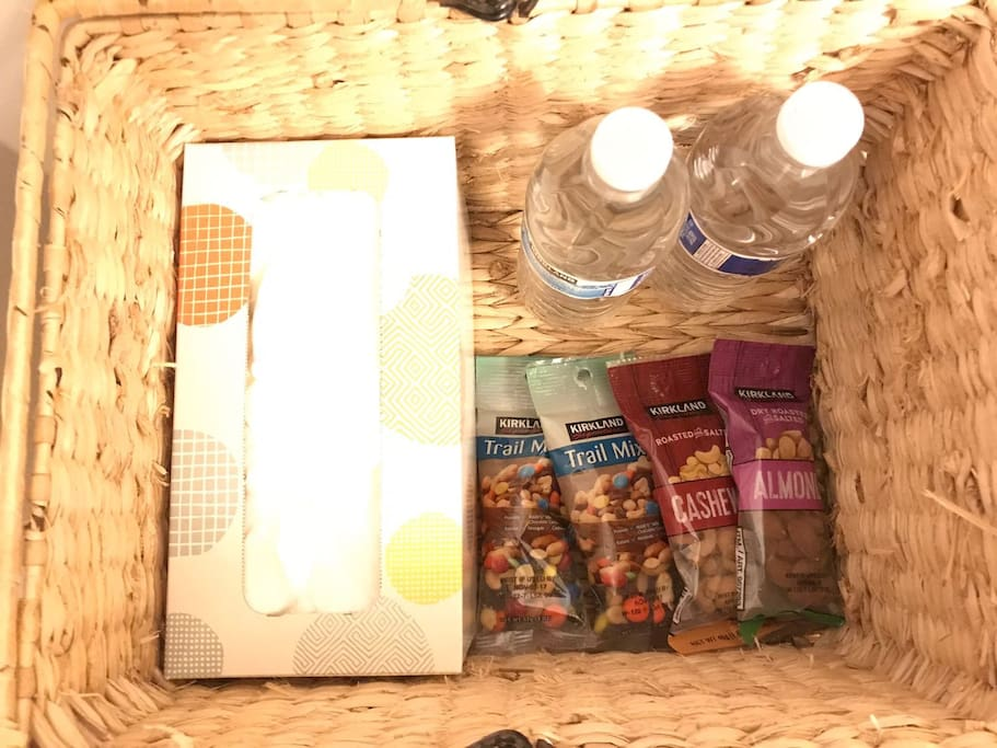 Complementary healthy snacks and bottled water.