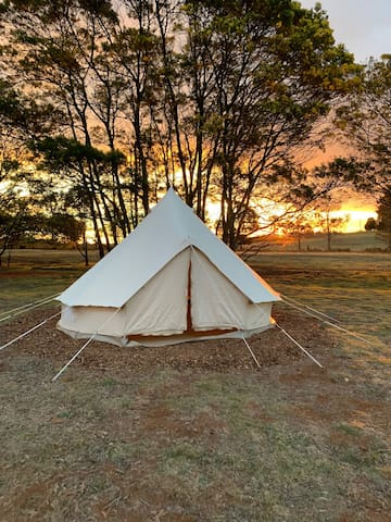 A typical sunset on the vineyard. We can also offer bare tents for budget travellers