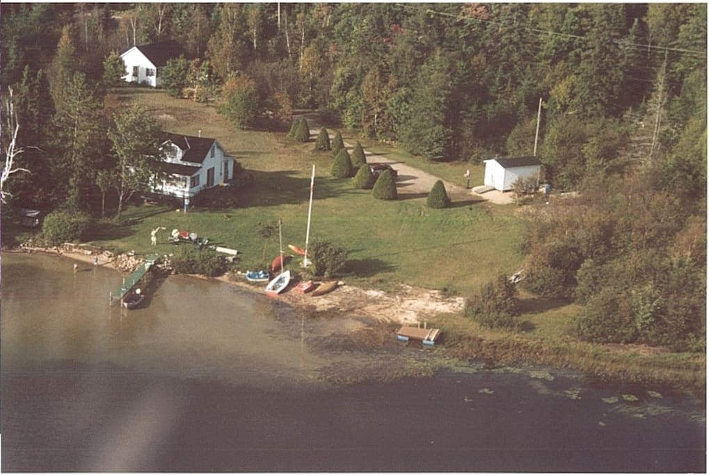 Aerial View of private bay. The rental cottage the is the structure in the upper left corner.