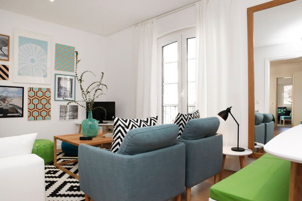 Comfortable living room with sofa-bed for 2 extra Guests