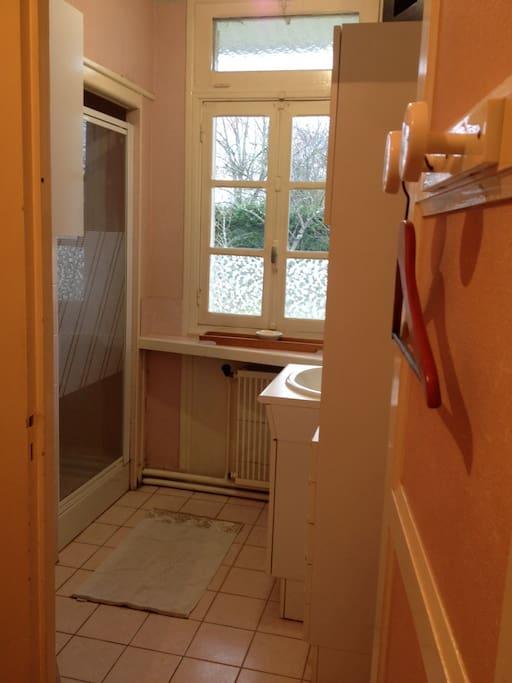 Salle de bain privative avec douche et lavabo