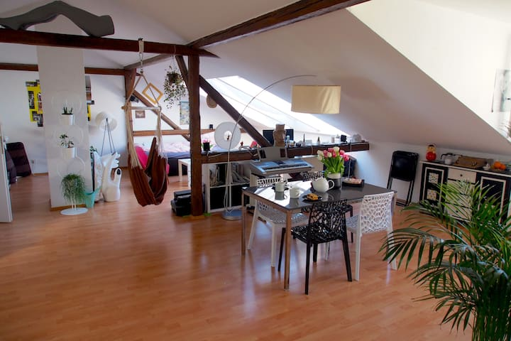 Sunny attic apartment with waterbed