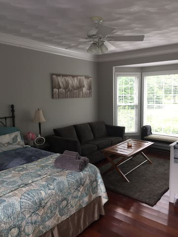 Spacious bedroom has king size bed and a queen pullout sleeper. Ceiling fan and window fan. A/C window unit is only in during hot weather-usually August.