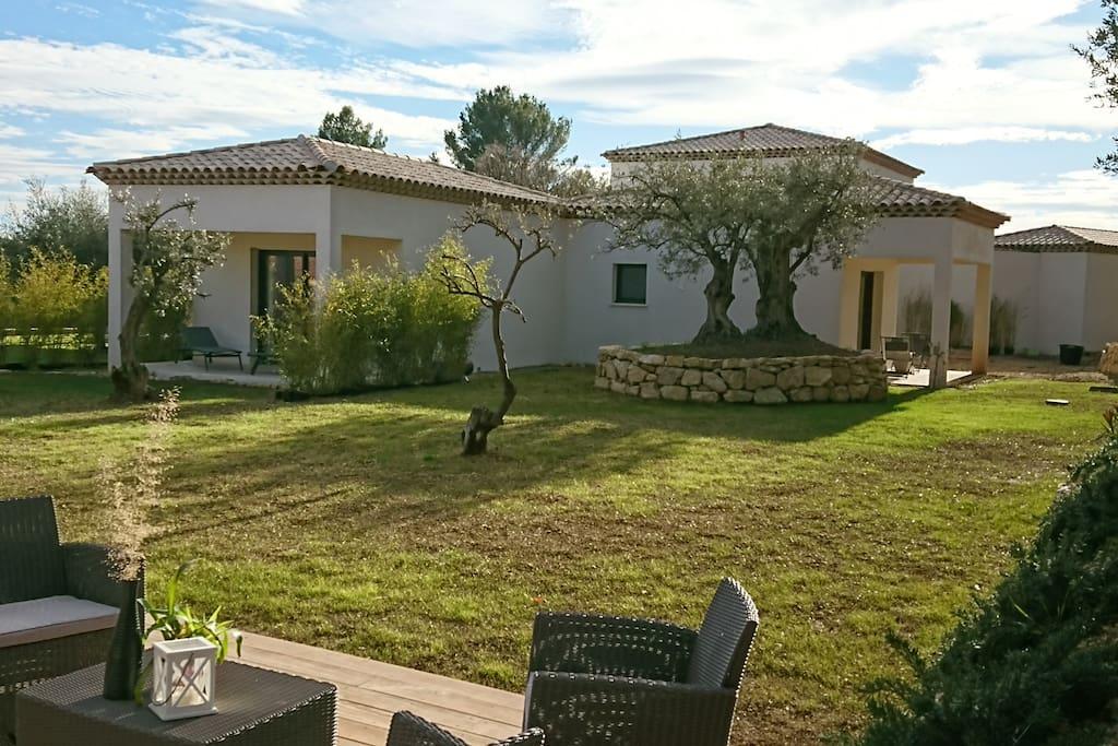 Vue d'ensemble du jardin avec terrasse commune au premier plan