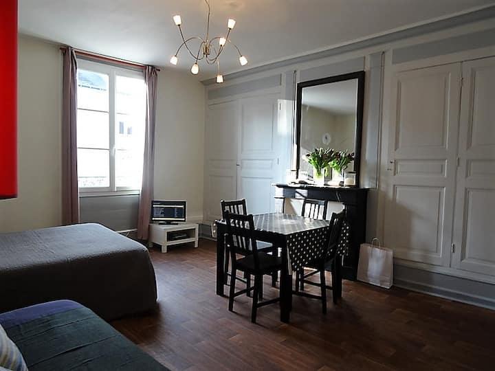 vaste studio, espace chambre et espace living