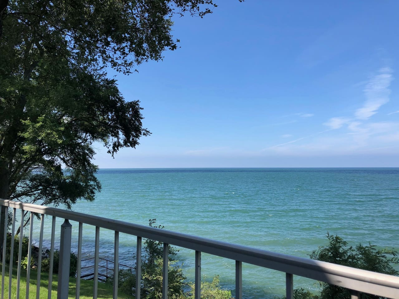 Balcony and seating with beautiful views of Lake Erie