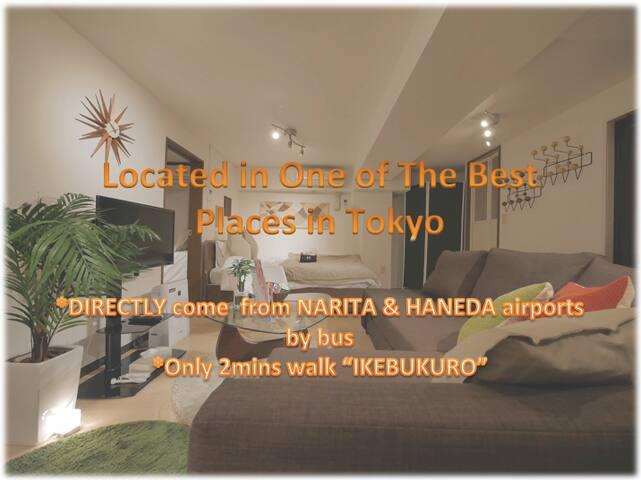 "2min walk""IKEBUKURO""Modern 2 Private Rooms+1Living"