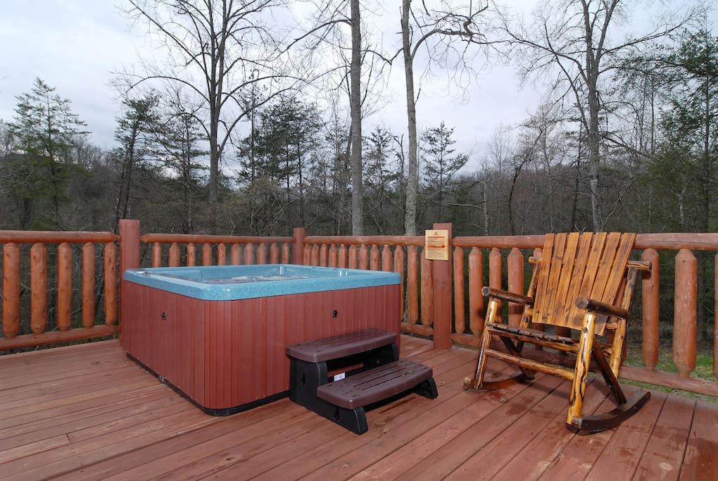 Hot tub on the open deck. No privacy screens needed because it faces very private back yard and woods