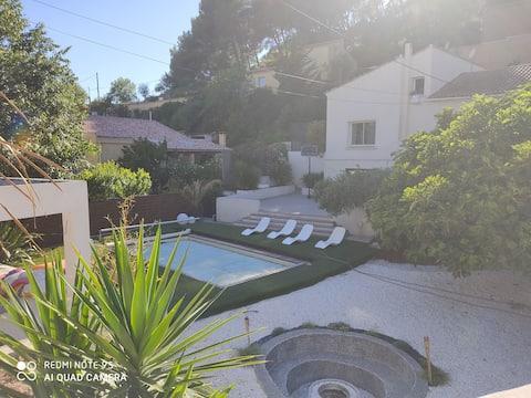 Studio en rez de villa avec piscine ☀️