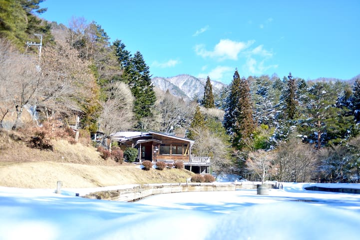Winter view of guest house.