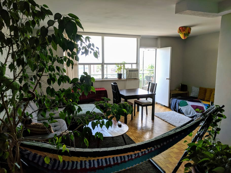 Another view of the living room - when the futan is on the balcony with put the piano in its place instead