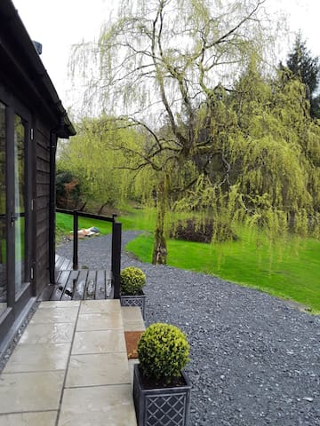 View of garden from the front of lodge