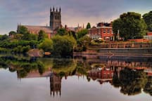 Worcester Cathedral & River Severn 7m. Civil War Commandery. Hive library. Royal Worcester china.