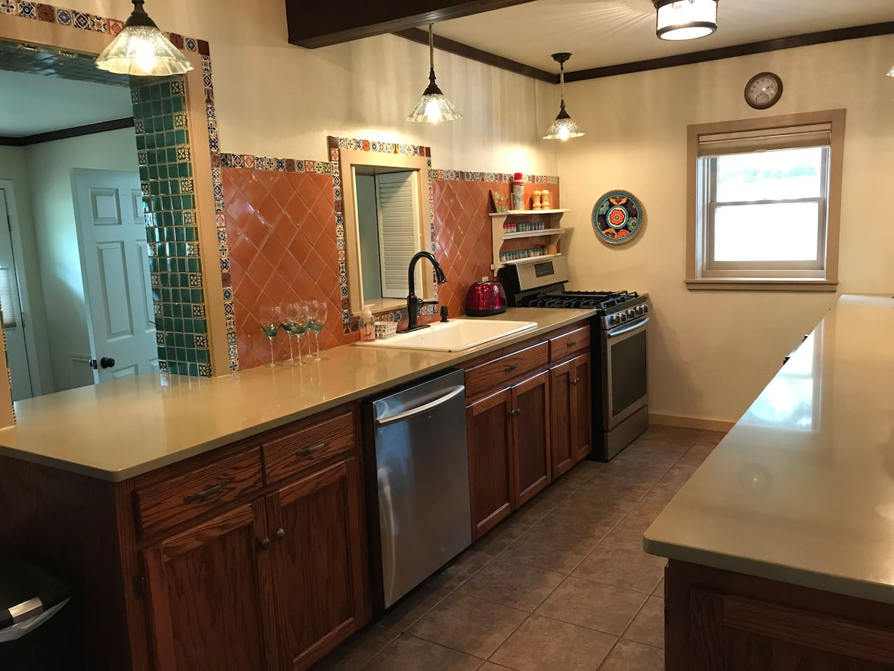 Bachelor's kitchen includes quartz countertops, dishwasher, gas stove and 3 mini fridges.  Period correct details abound in this beautiful 1929 Casita.  The home has been in our family for 50 years.  It was  offered on Air BNB for the first time in June of 2017.