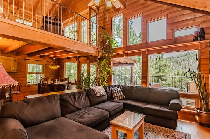 Contemporary Log Cabin Nestled in Towering Pines