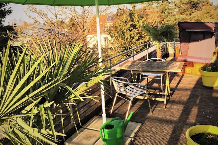 nice and cosy studio - roof terrace, sauna, gym