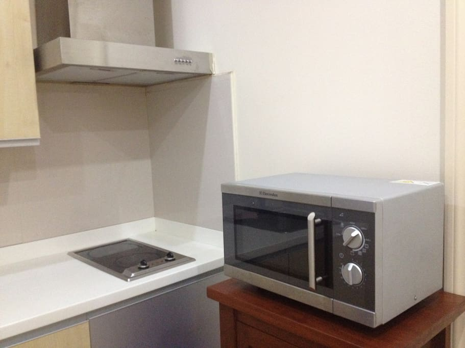 Microwave and double burner with range hood