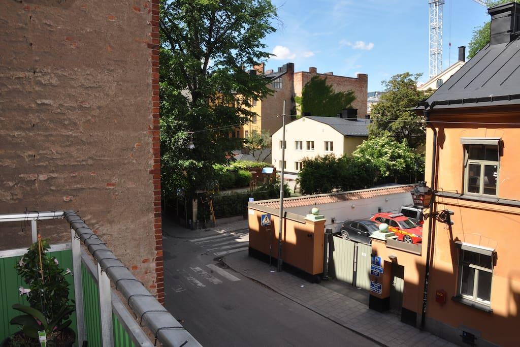 Balcony towars quiet back street.