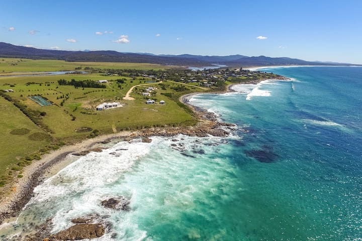 Drone shot over private 10ha private waterfront grounds
