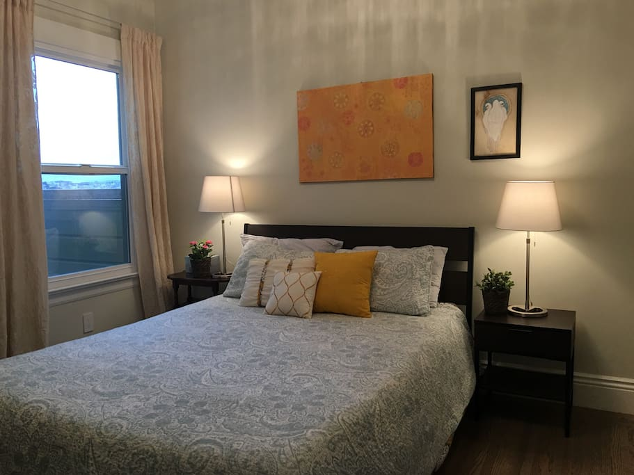 Your bedroom with window - view of Golden Gate in the distance
