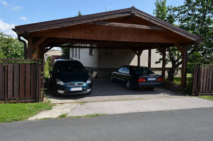 Parking available in the back garden