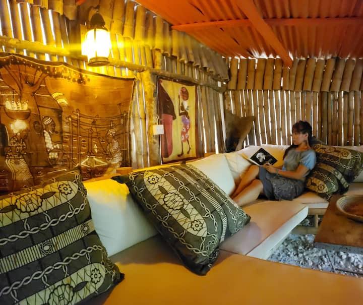 Rustic & Natural Bamboo Hut on Boston Bay Beach