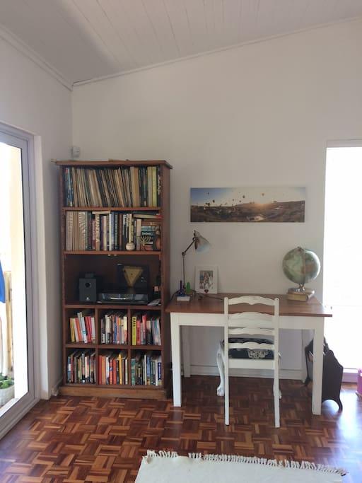 Study area, books and workstation.