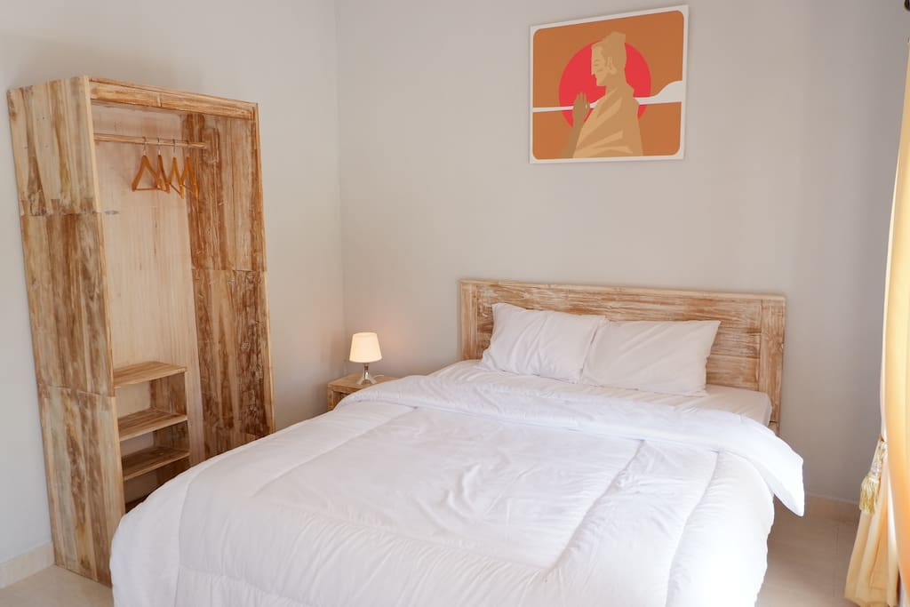 Calm Room Detail, interior made of Teak wood With Rustic White Wash Finishing