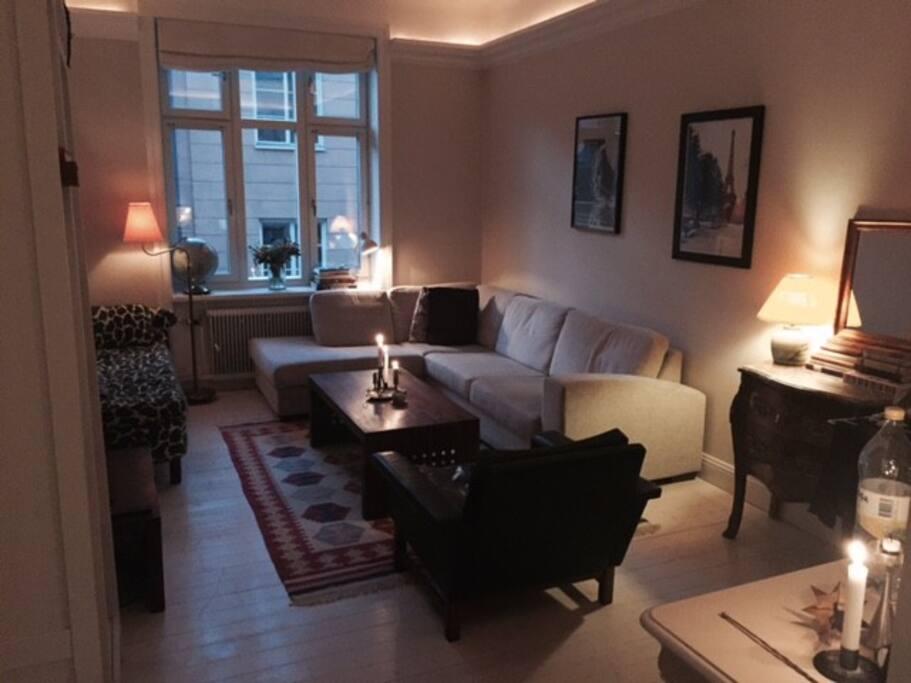Spacious living room with international art