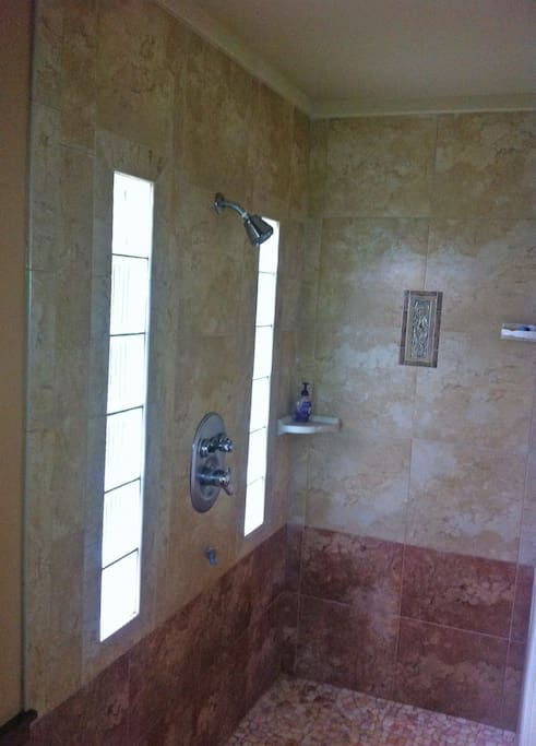 Large, walk-in shower