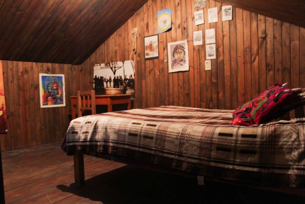 Wooden loft bedroom