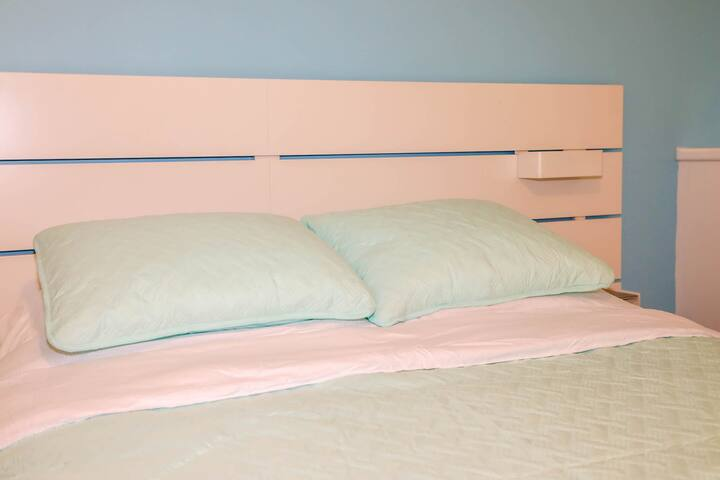 Large lower level bedroom with queen size bed.