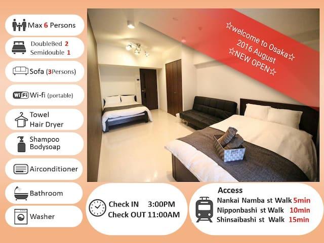Discount! NAMBA st walk 6min & Dotonbori walk13min - Osaka-shi - Wohnung