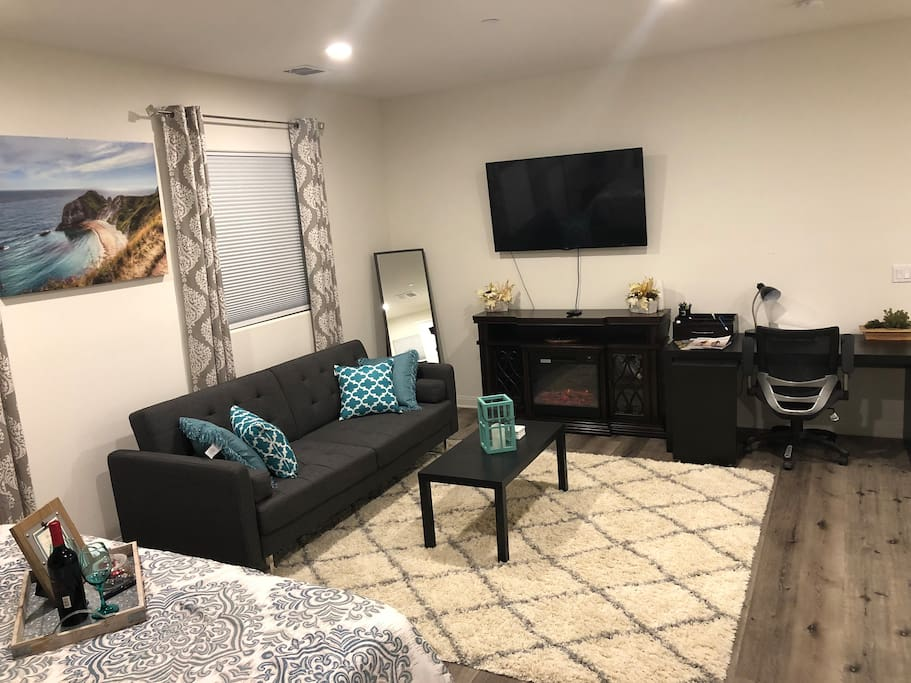 Comfortable living area with  1. Couch / Futon 2. Electric Fireplace  3. Work Space with / Chair & Desk 4. High Speed Internet 5. Large Flatscreen      A. Netflix       B. Hulu Streaming & Live Tv 6. Full Length Mirror